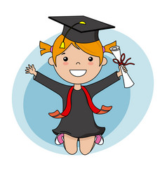 Happy girl in graduation suit and diploma vector