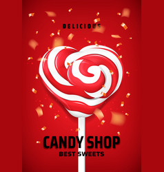 heart lollipop candy on stick sweets shop vector image