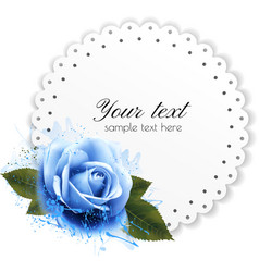 Holiday background with blue flower and gift card vector