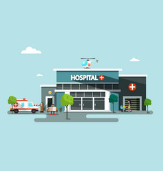 hospital symbol with helicopter ambulance car and vector image