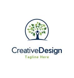 Human tree medical care creative logo vector