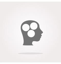 idea head circle glossy icon Web Icon Art vector image