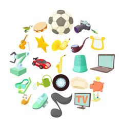 interests icons set cartoon style vector image