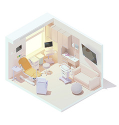 Isometric labor and delivery room vector