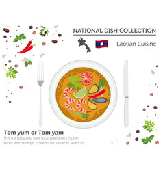 Laotian cuisine asian national dish collection vector