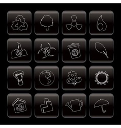 line ecology and recycling icons vector image
