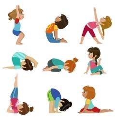 Little Girls Doing Yoga Set vector image