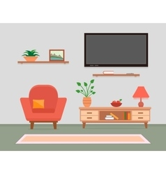 Living room interior with armchair and furniture vector