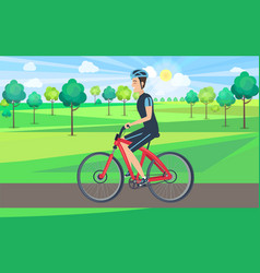 Man on bicycle view from left vector