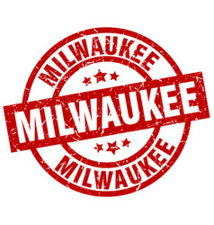 milwaukee red round grunge stamp vector image