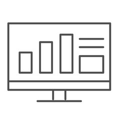 monitor with graph thin line icon computer with vector image