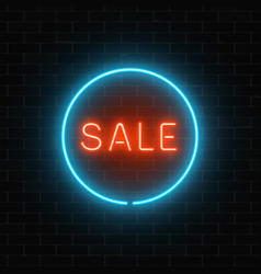 Neon red sale sign in a blue circle frame on a vector