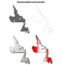 Newfoundland and Labrador blank outline map set vector image