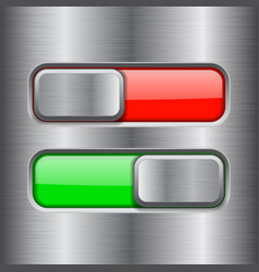 On and off square slider buttons red and green vector
