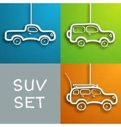 Paper car set vector image