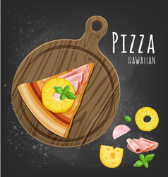 Pizza hawaiitan slice vector image