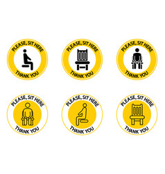 Please sit here you can sit here sitting icons vector