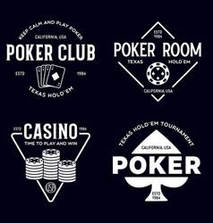 poker related labels emblems badges design vector image