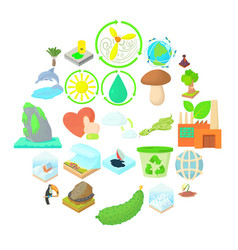 pure nature icons set cartoon style vector image