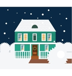 Real estate winter night scene House cottage vector