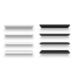 realistic black and white wall shelf collection vector image