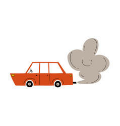 Red car with exhaust smoke cloud ecological vector