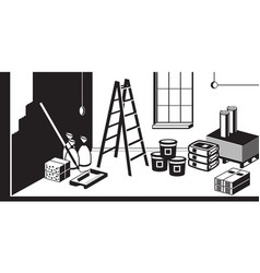 Refurbishment interior building vector