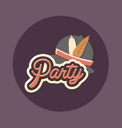 retro classic hat with feathers party celebration vector image