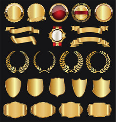 retro golden ribbons labels and shields vector image