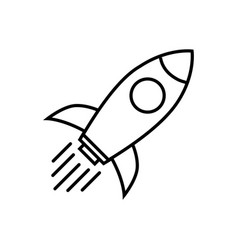 rocket line icon rocket flat symbol on white vector image