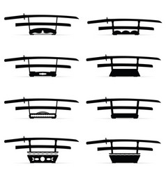 Samurai sword katana set in black color vector