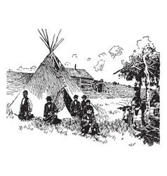 Scene on an indian reservation vintage vector