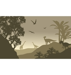 Scenery dinosaur of silhouette vector