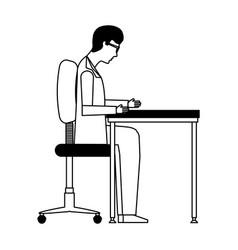 Scientific man in workplace avatar icon vector