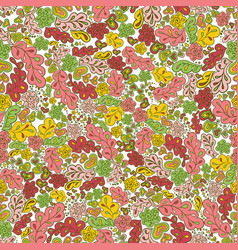 seamless pattern flower and leaf green pink yellow vector image vector image