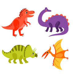 set cute dinosaurs vector image