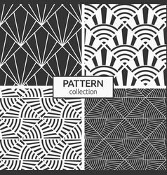 Set four seamless monochrome patterns art deco vector