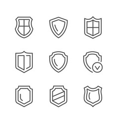 set line icons of shield vector image