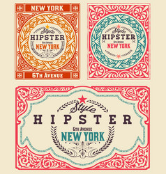 Set of vintage cards vector