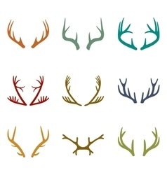 Set of vintage deer antlers vector