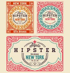 Set vintage cards vector
