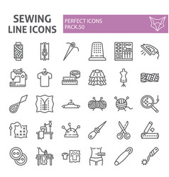 Sewing line icon set tailor symbols collection vector