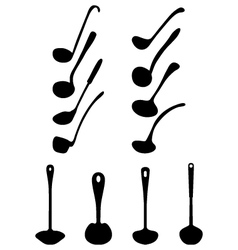 silhouettes of ladle vector image