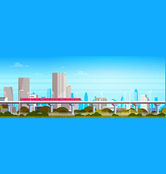 subway train over modern city panorama with high vector image