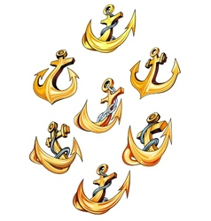 Swirling gold ships anchors vector image