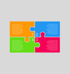 The puzzle pieces infographic four steps diagram vector