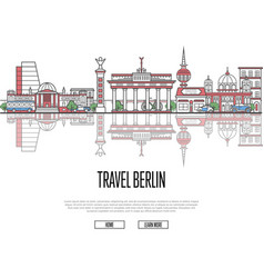travel tour to berlin poster in linear style vector image