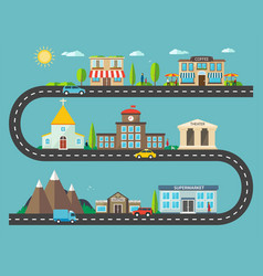 urban landscape in flat design city life vector image