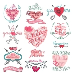Valentines day calligraphy setframearrowshearts vector