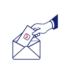 Voter voting using postal ballot during election vector
